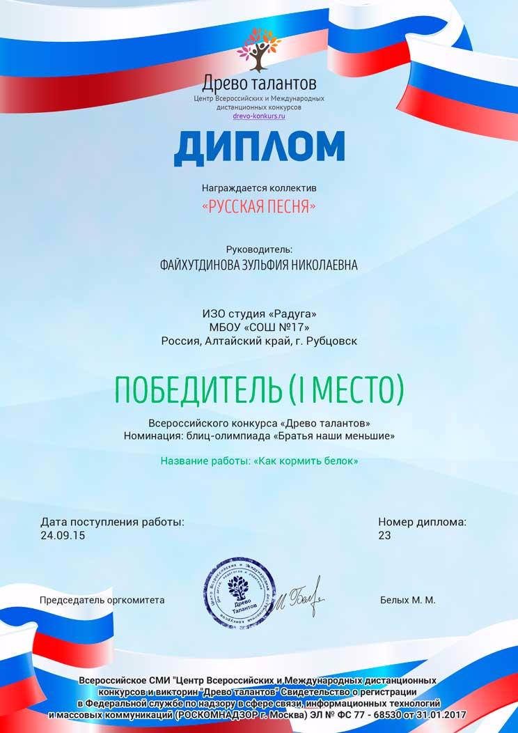 Всероссийский конкурсы талантов